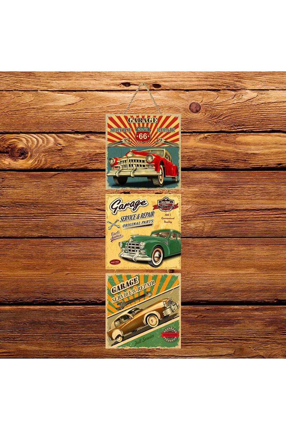 Eski Model Arabalar Renkli -  3'lü Kabartmasız Poster