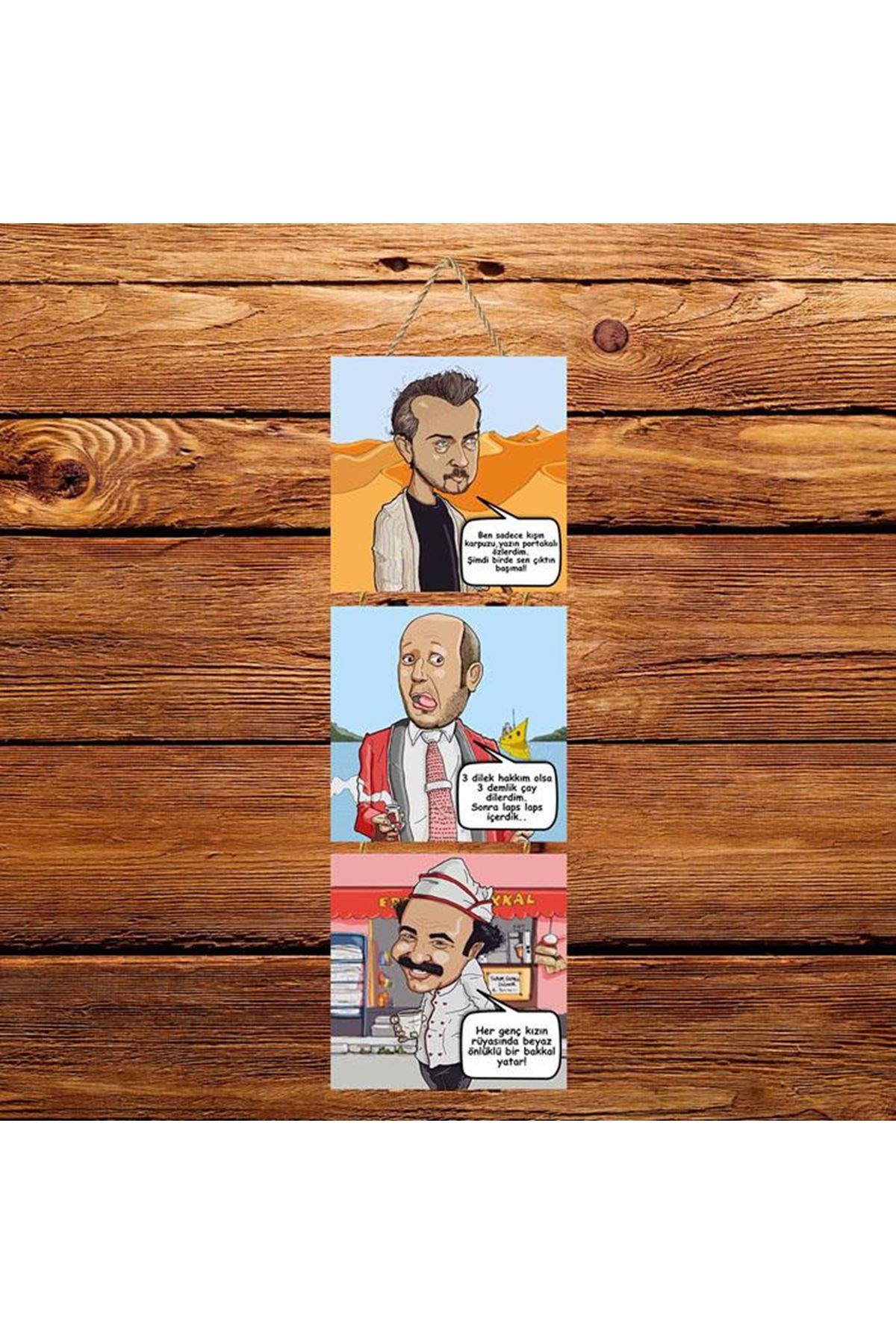 Leyle İle Mecnun Karikatür -  3'lü Kabartmasız Poster