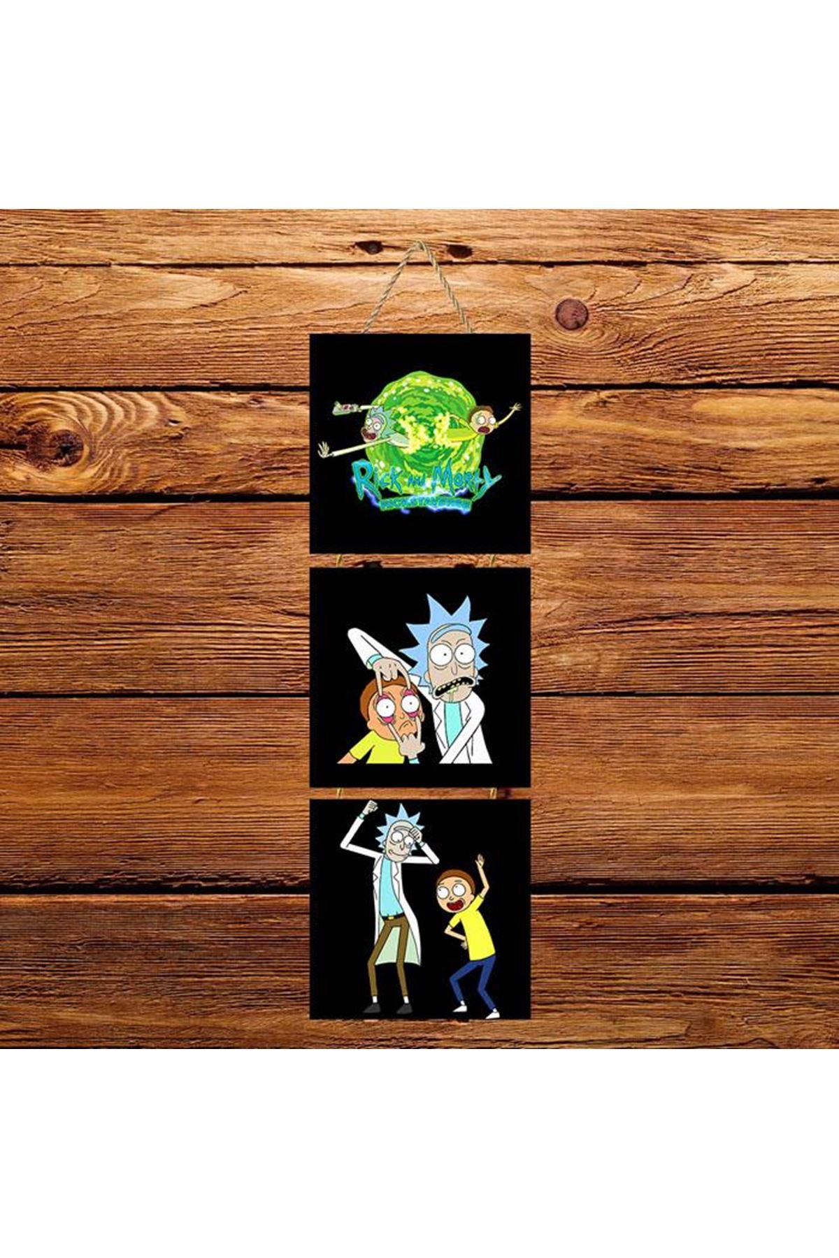 Rick and Morty Siyah Arkaplanlı -  3'lü Kabartmasız Poster