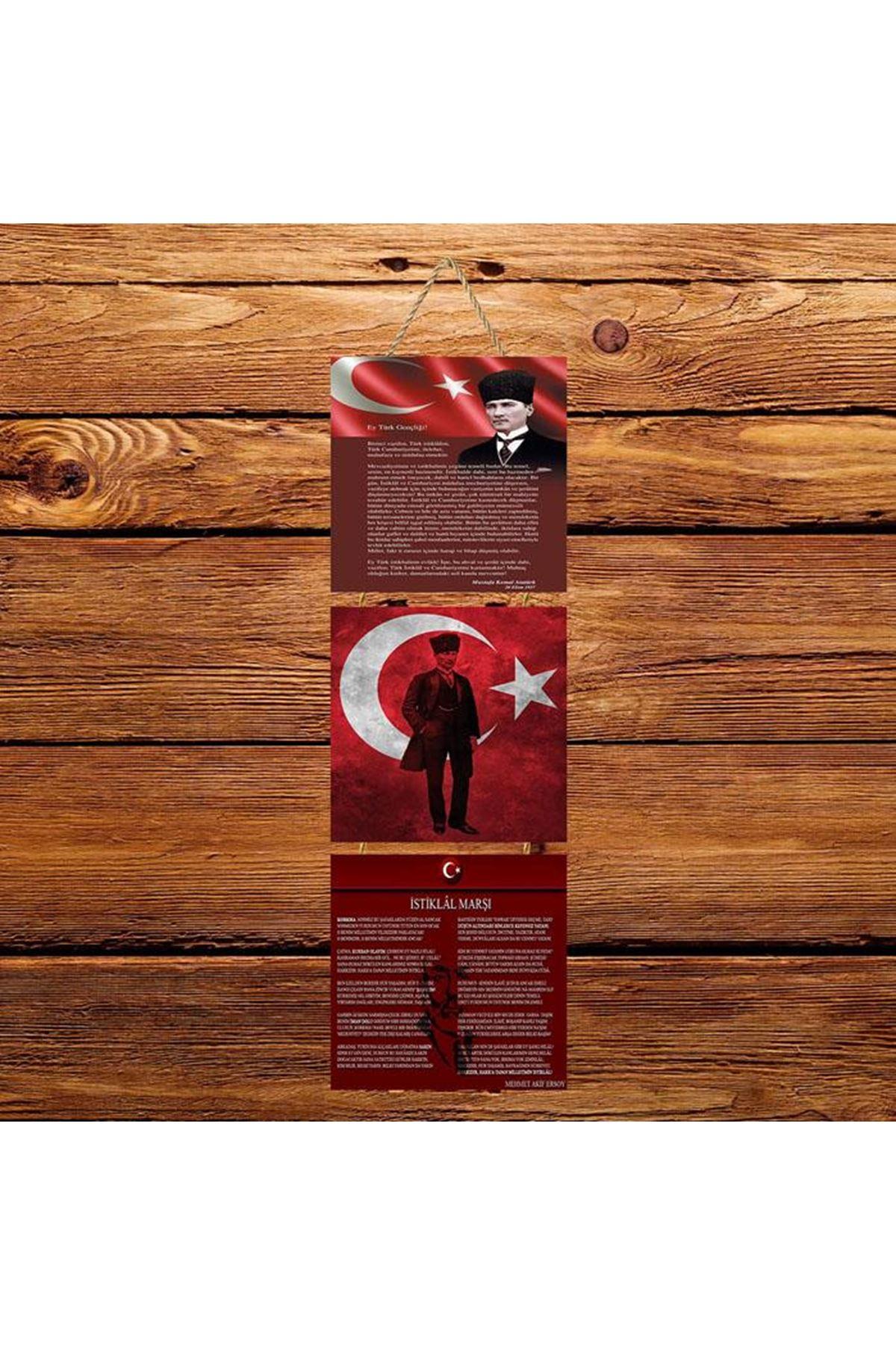 Atatürk İstiklal Marşı Gençliğe Hitabe -  3'lü Kabartmasız Poster