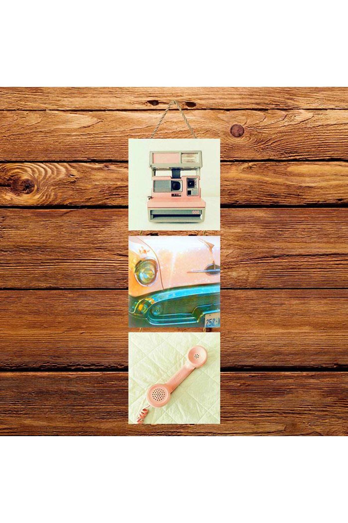 Pembe Araba Telefon Fotoğraf Makinesi -  3'lü Kabartmasız Poster