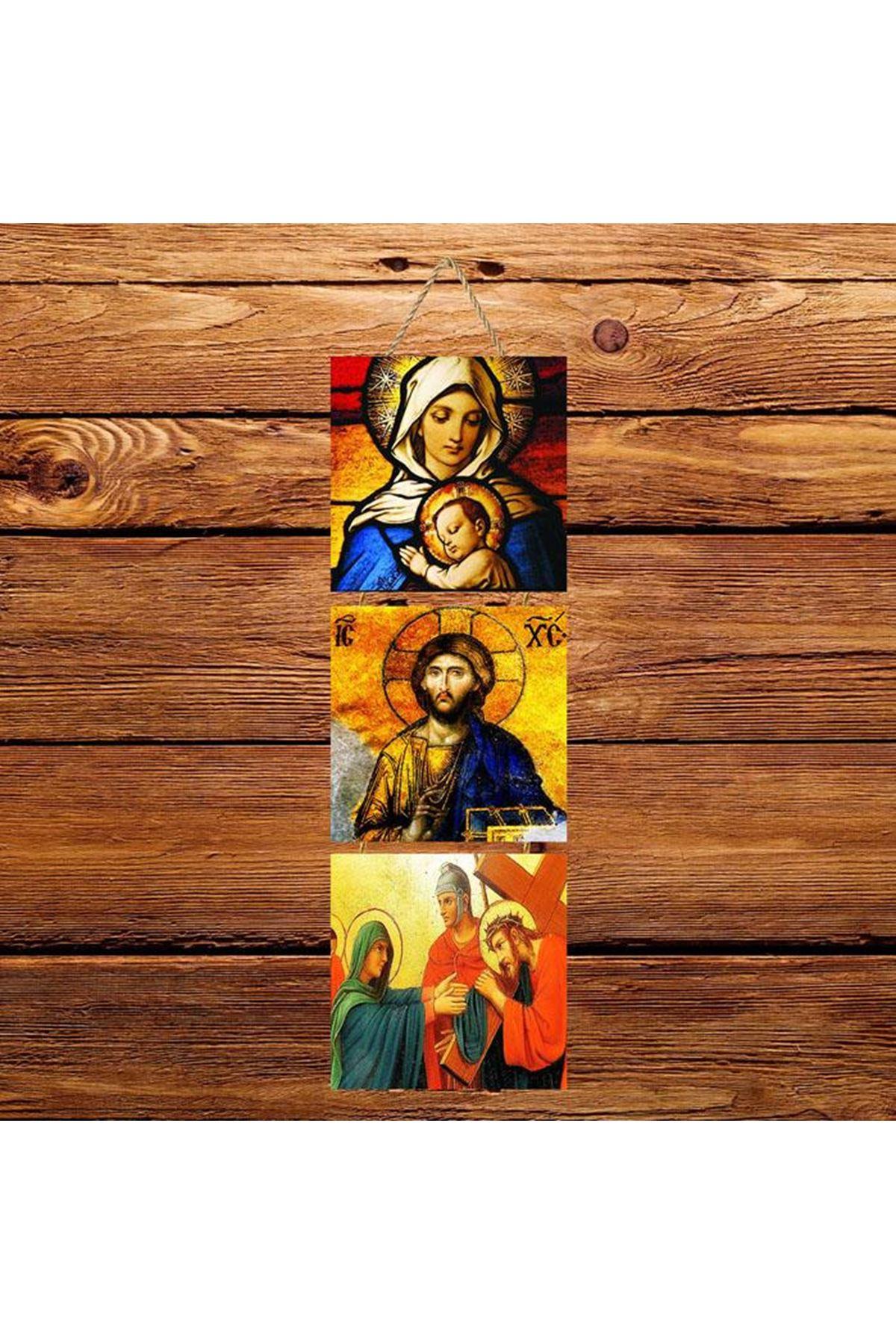 Hz. İsa Meryem Ana-  3'lü Kabartmasız Poster