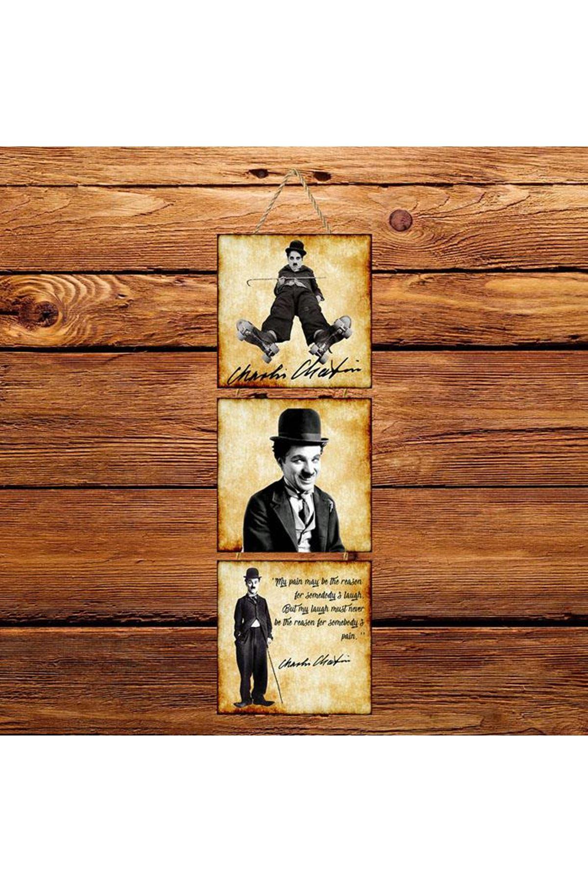 Charlie Chaplin Eskitilmiş -  3'lü Kabartmasız Poster