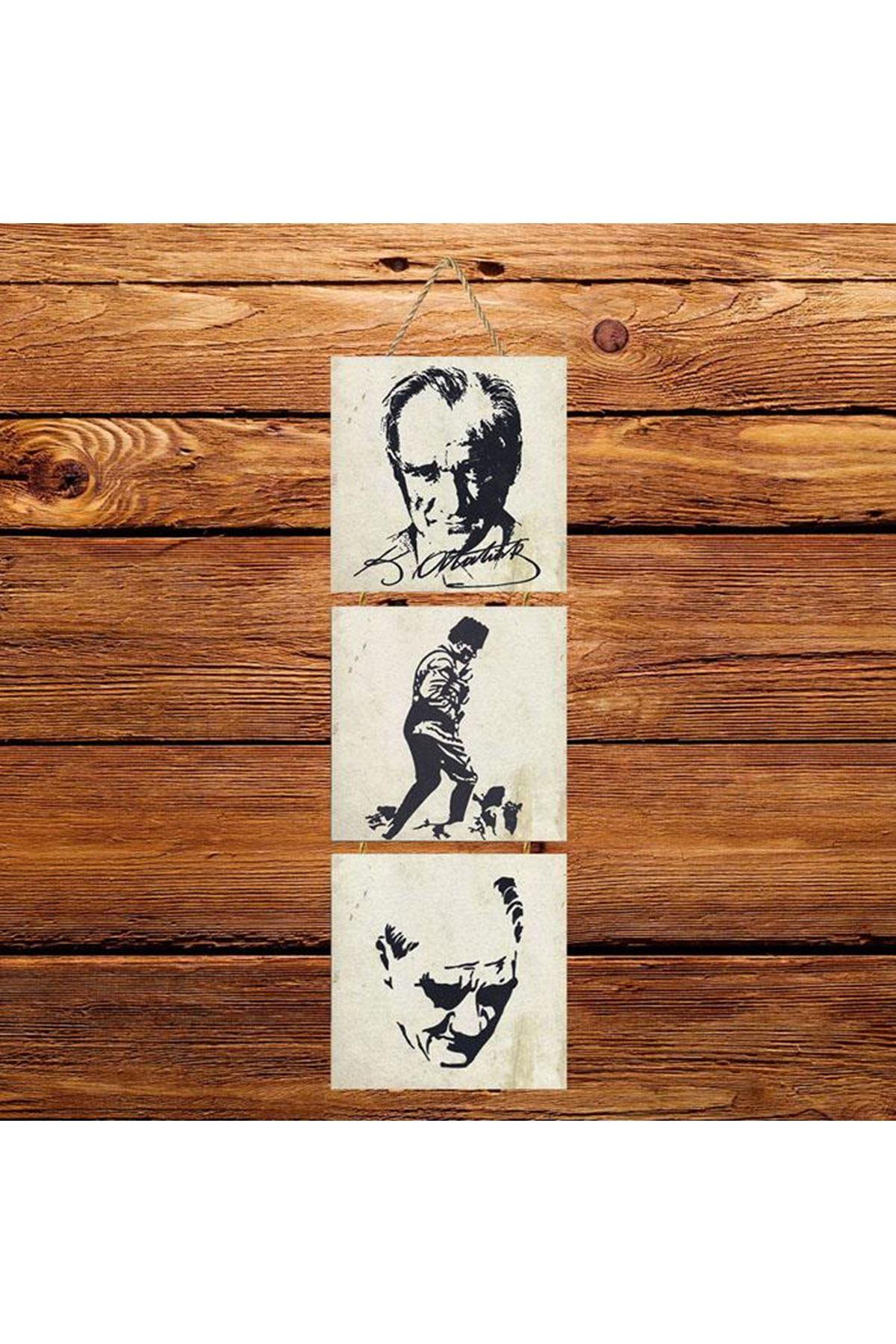 Atatürk Beyaz Arkaplanlı  -  3'lü Kabartmasız Poster