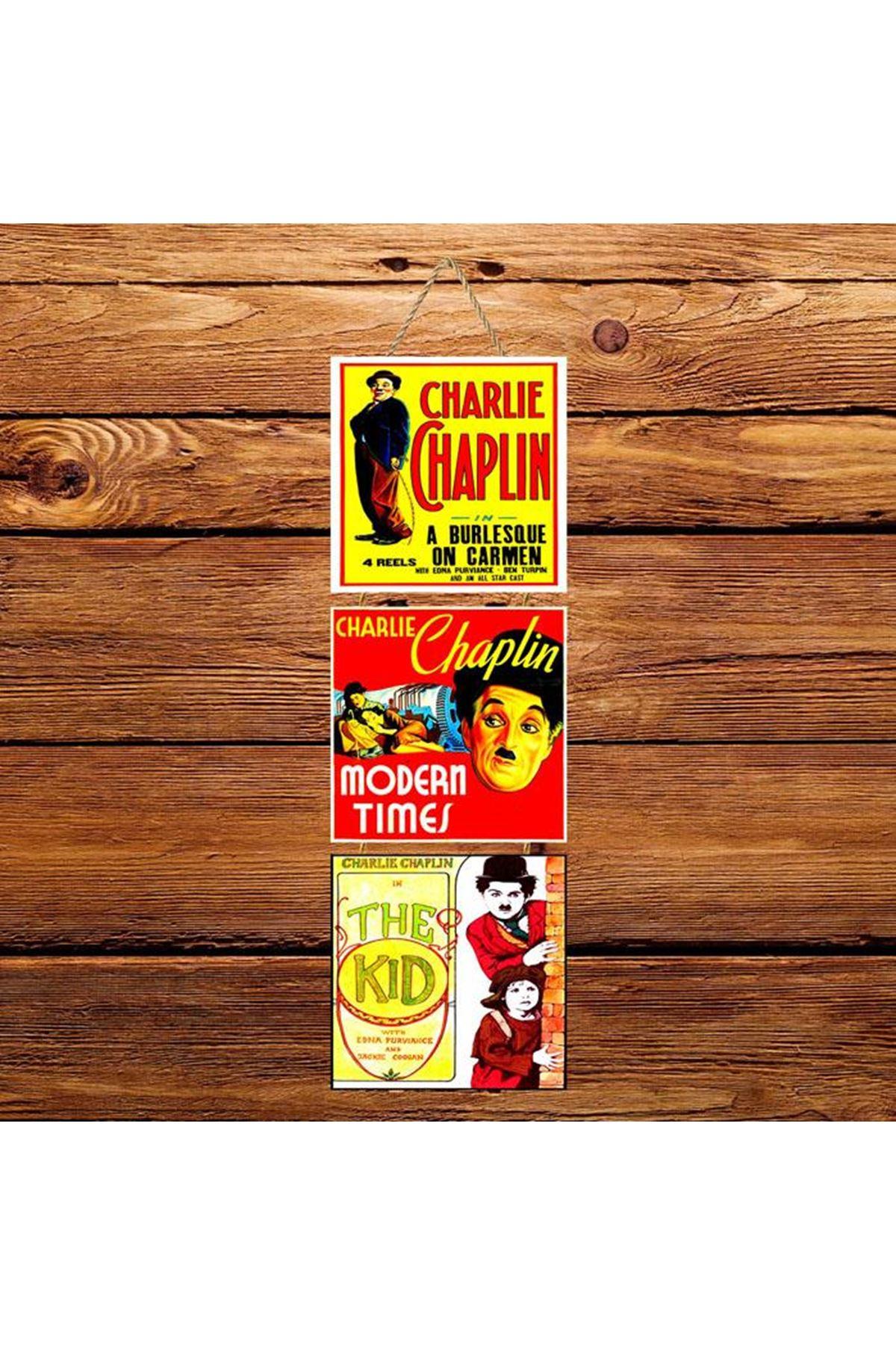 Charlie Chaplin Kırmızı Sarı  -  3'lü Kabartmasız Poster