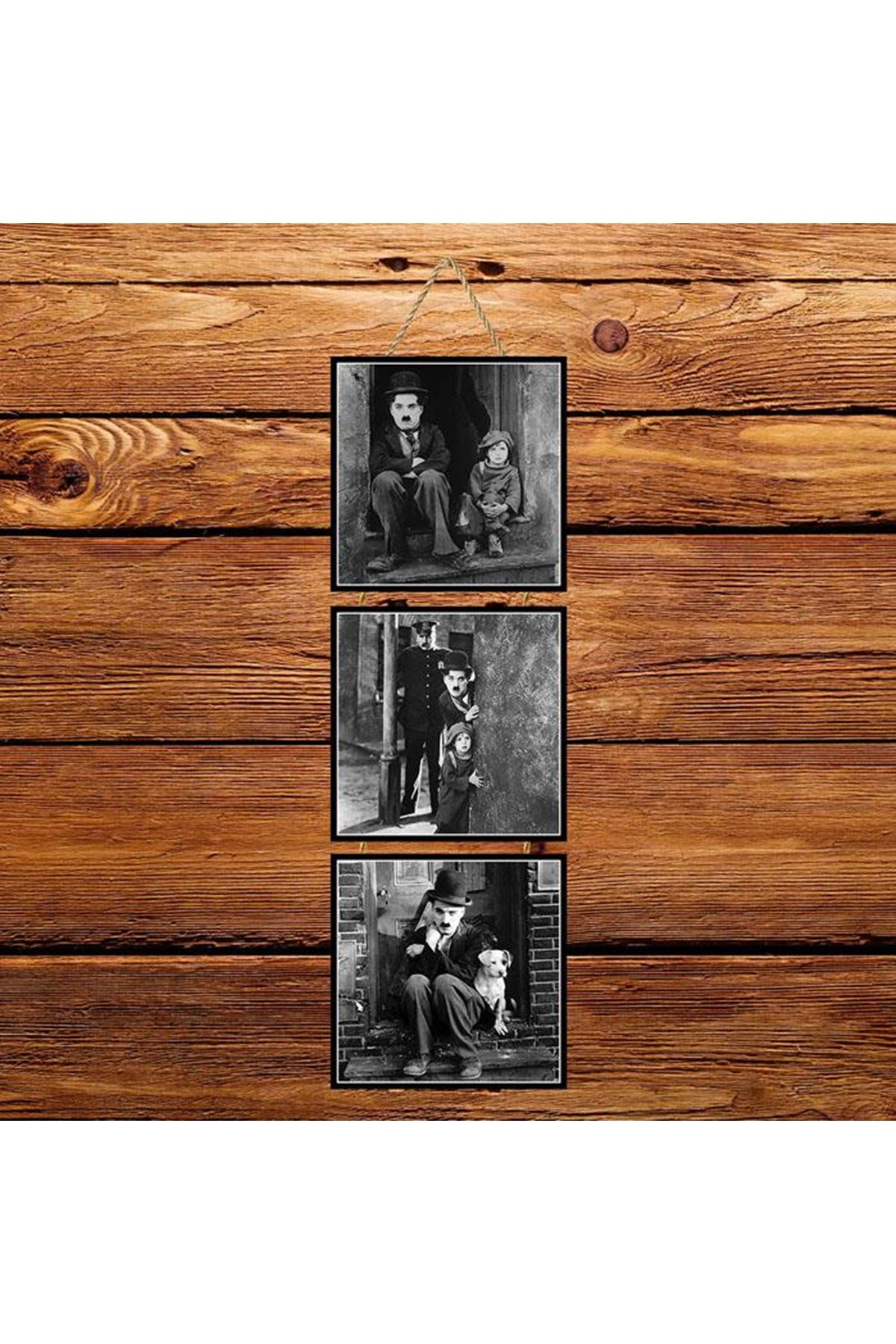 Charlie Chaplin Siyah Beyaz -  3'lü Kabartmasız Poster