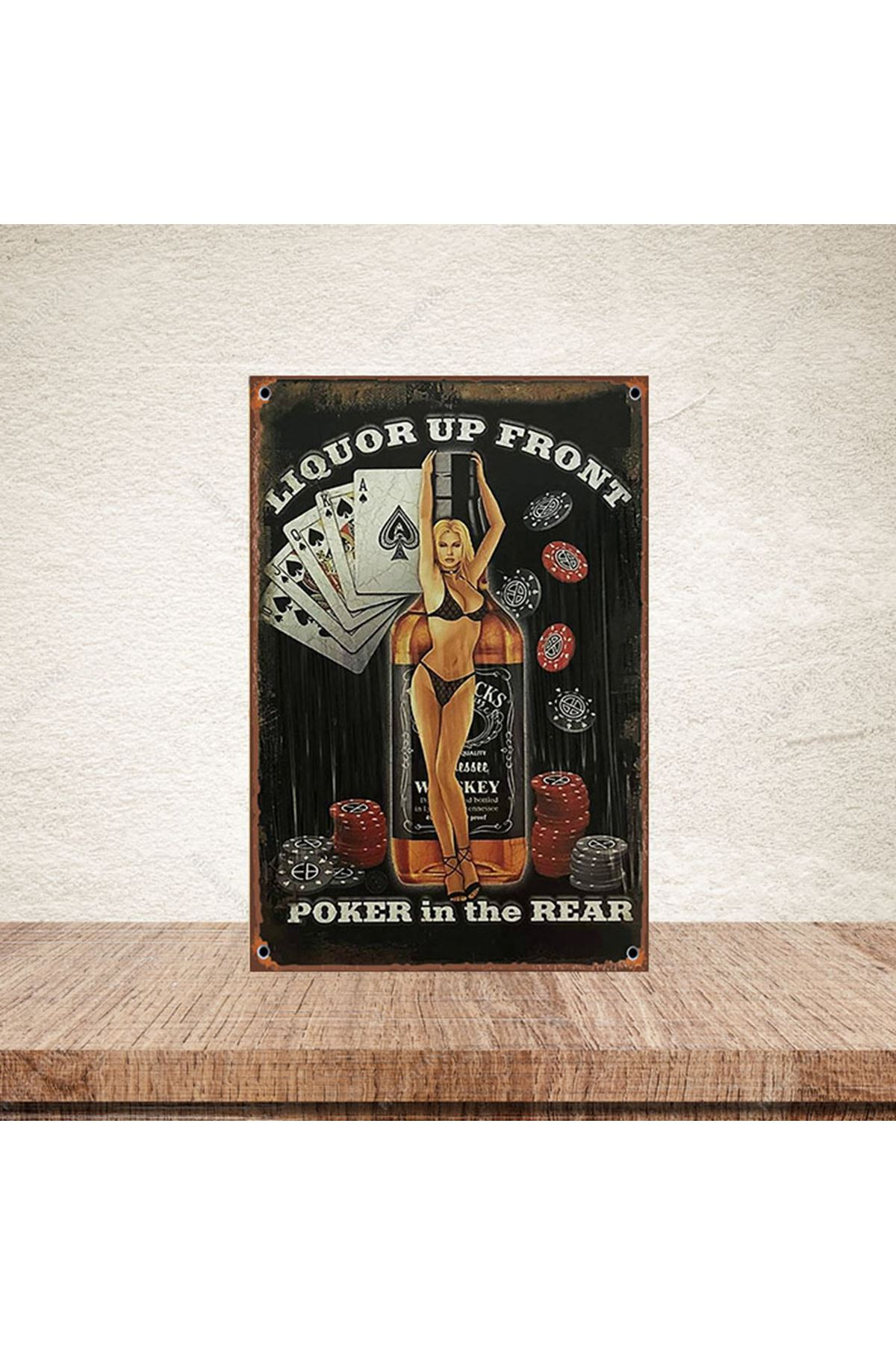 POKER İN THE REAR  - AHŞAP POSTER