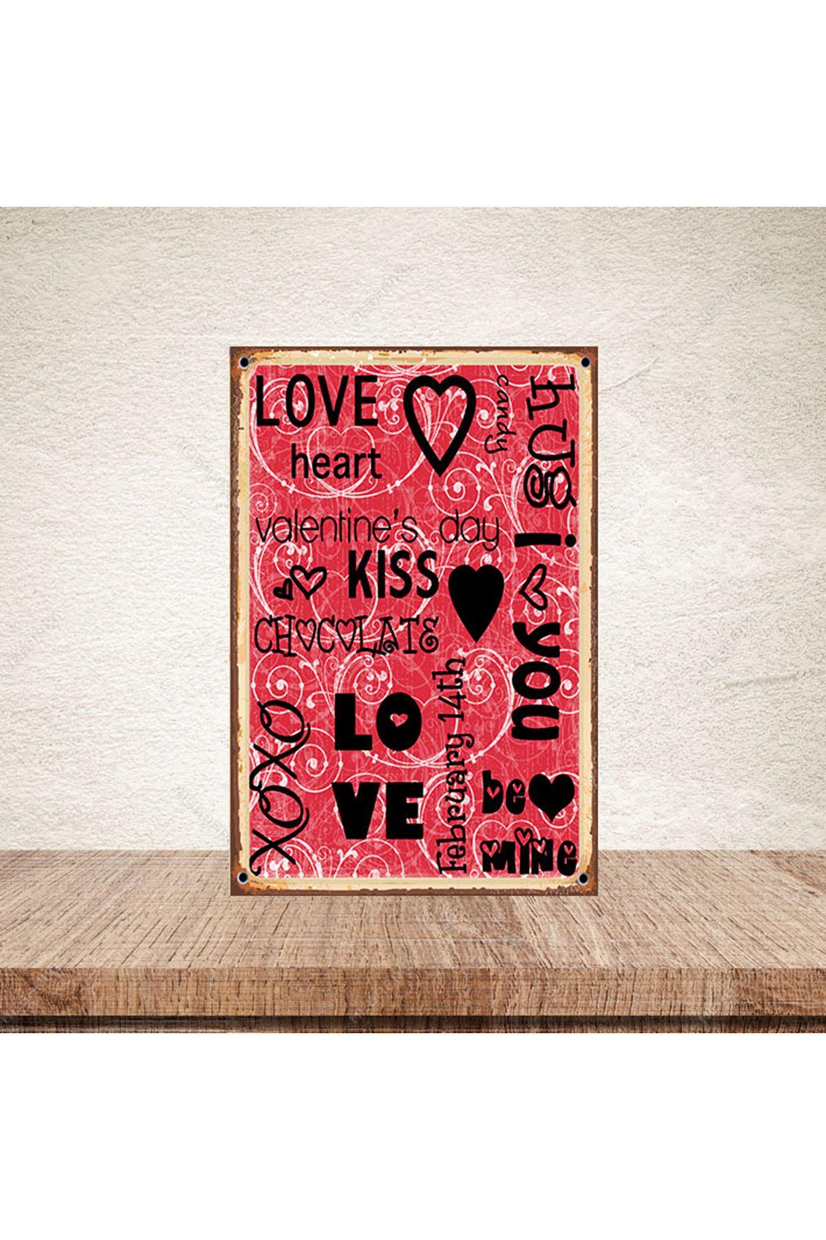 LOVE HEART KİSS - AHŞAP POSTER