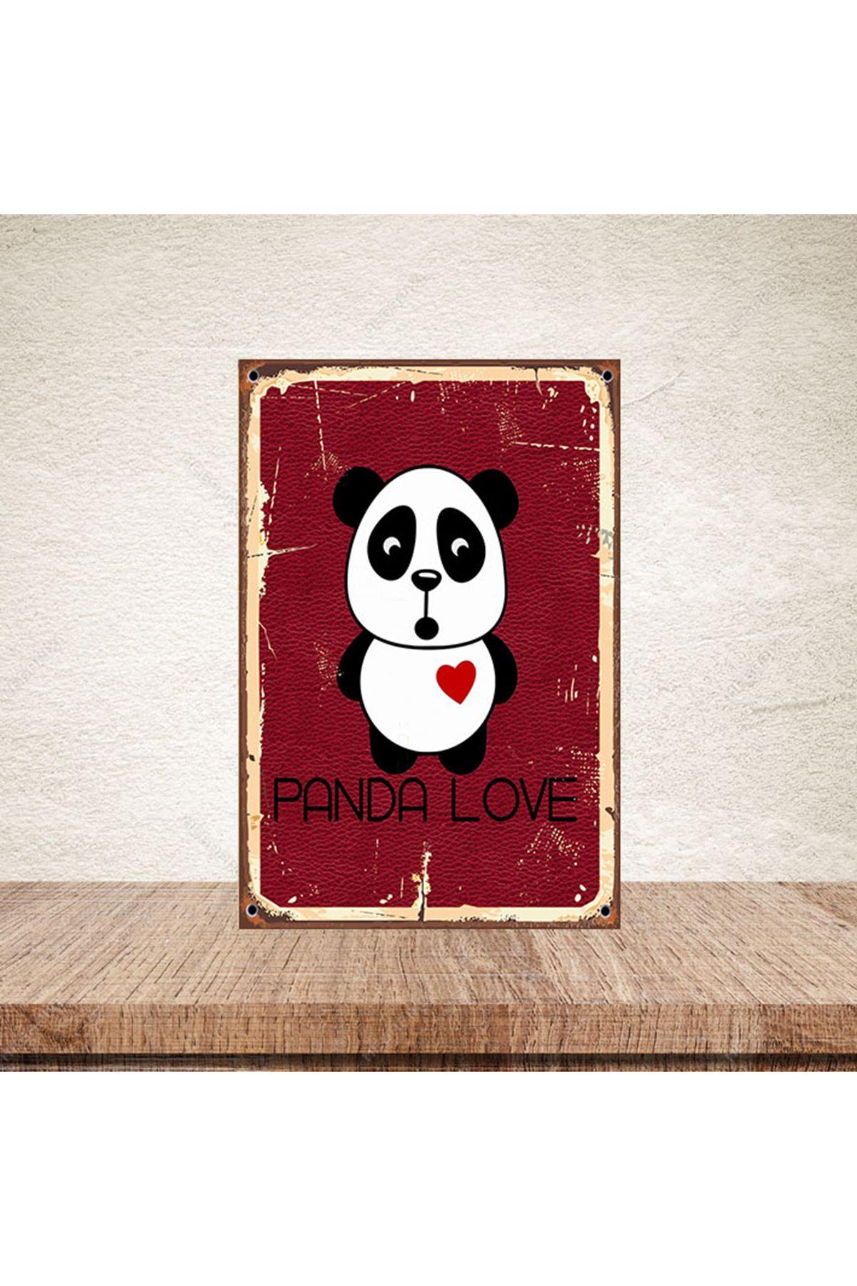 PANDA LOVE - AHŞAP POSTER