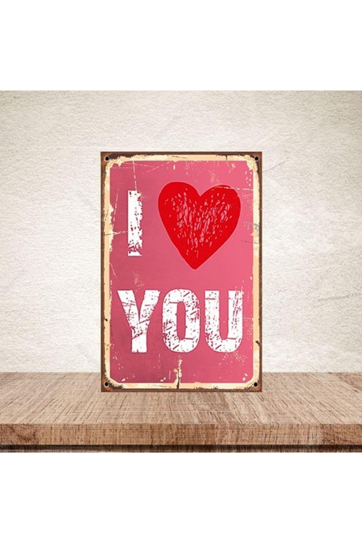 I LOVE YOU - AHŞAP POSTER