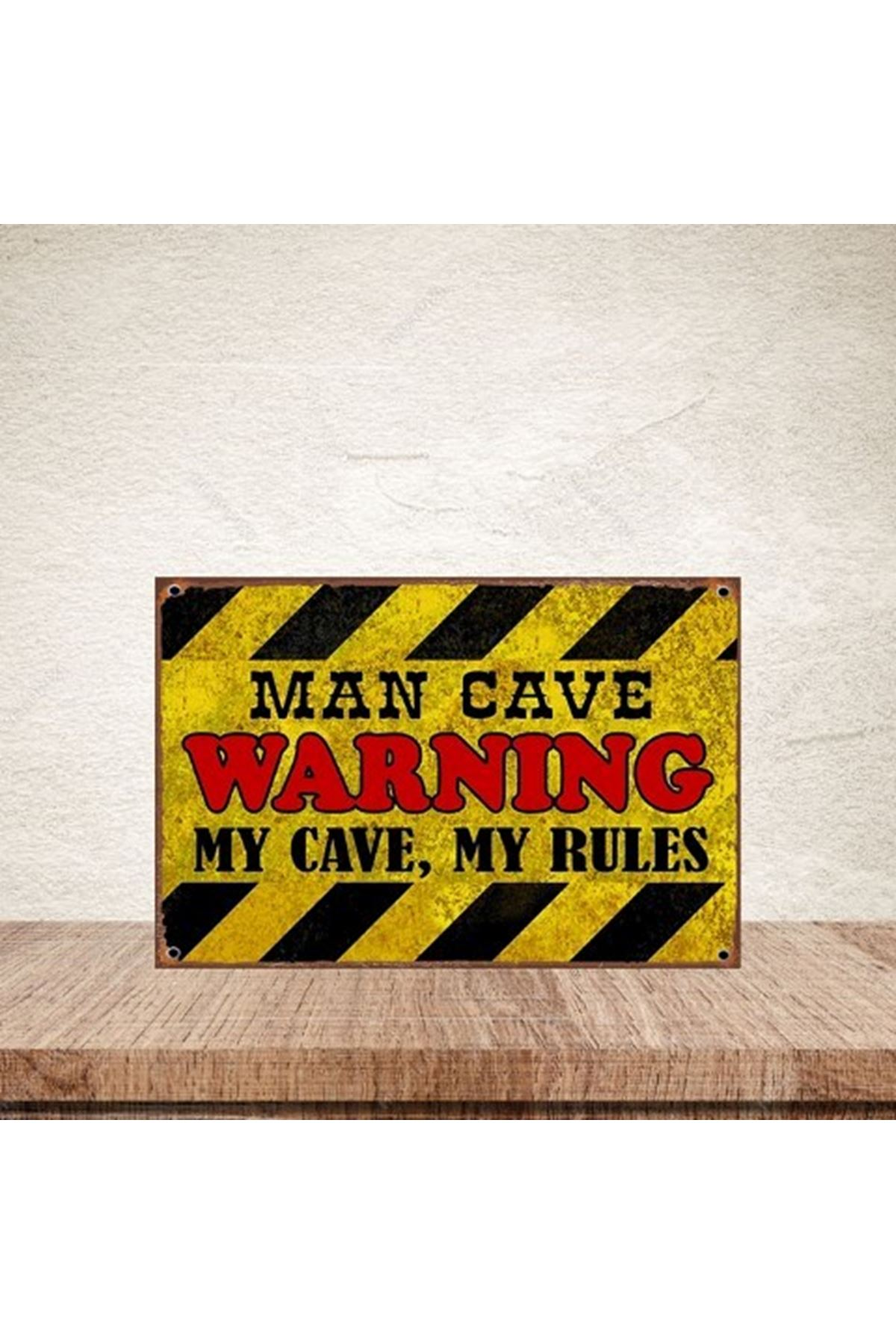 WARNİNG MY CAVE MY RULES - AHŞAP POSTER