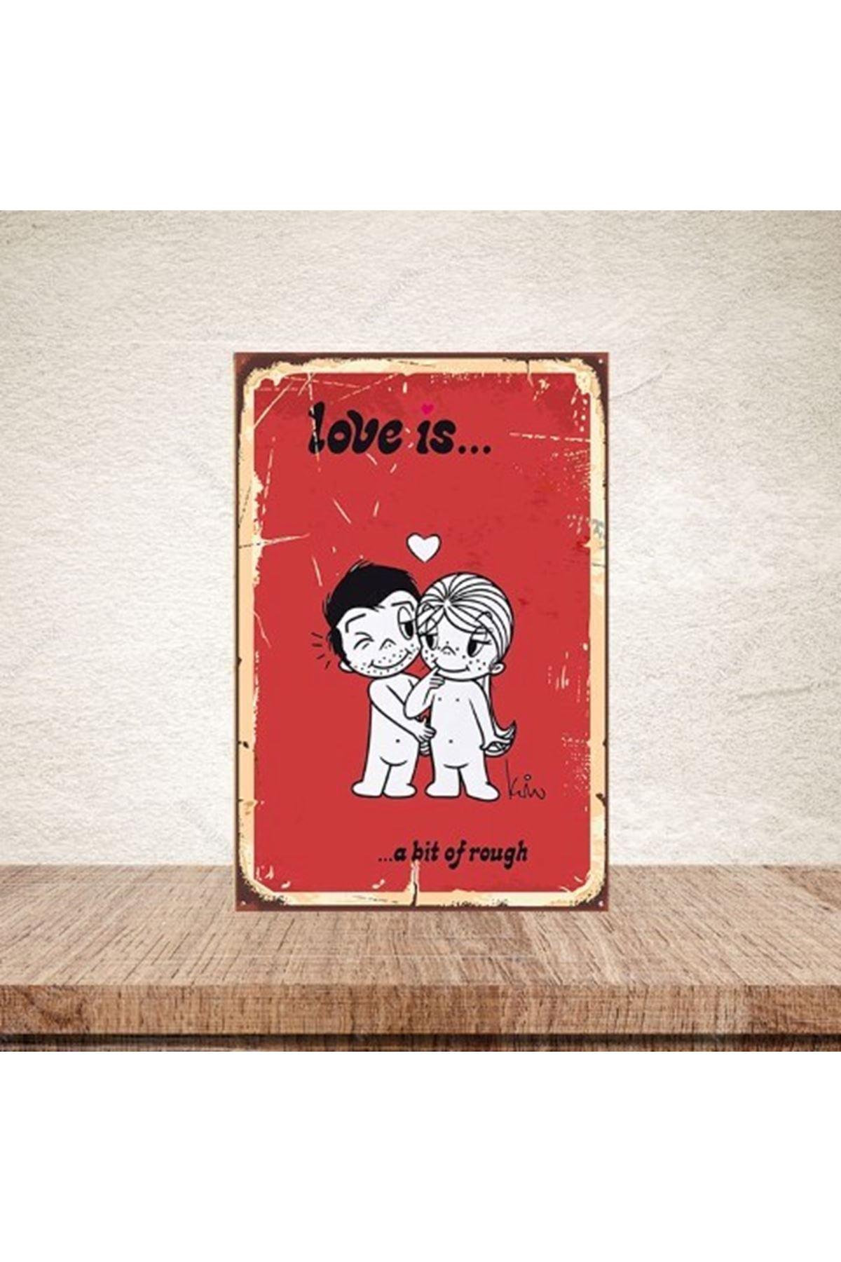 LOVE İS KIRMIZI  - AHŞAP POSTER