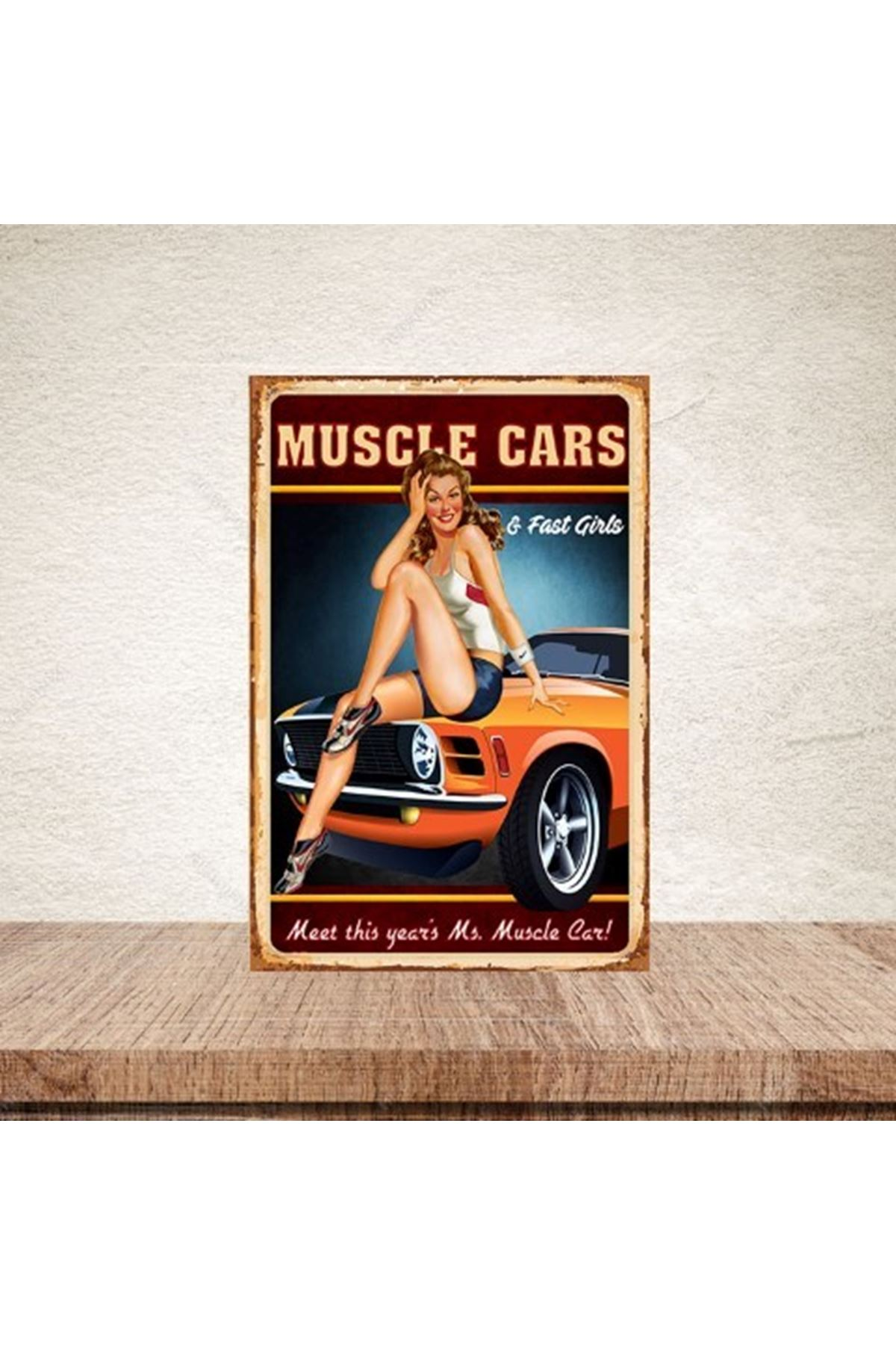 MUSCLE CAR -AHŞAP POSTER