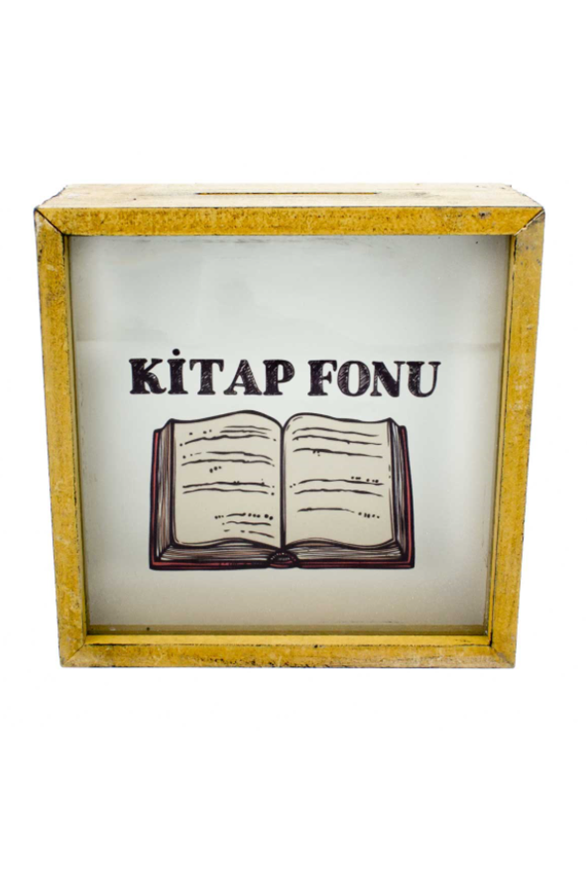 KİTAP FONU SARI -  AHŞAP VE CAM TASARIMLI KUMBARA